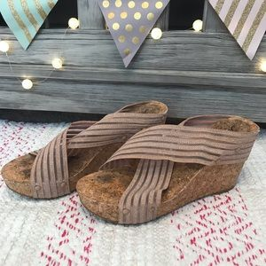 Lucky Brand Peach and Cork Wedges